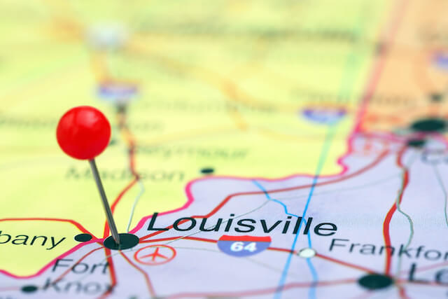 Canva - Louisville pinned on a map of USA